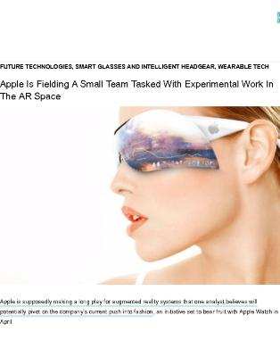 Apple Is Fielding A Team Tasked With Pilot AR Projects