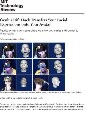 Oculus Rift Hack Transfers Your Facial Expressions onto Your Avatar