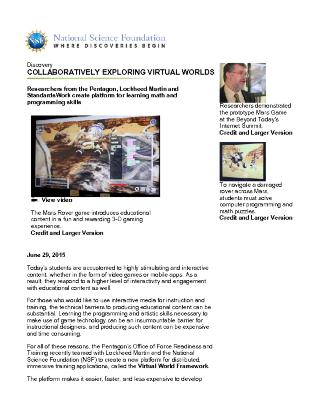 Collaboratively Exploring Virtual Worlds