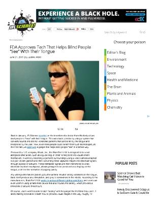 """Tech That Helps Blind People """"See"""" With Their Tongue"""