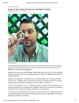 Eyeborg Man Replaces False Eye With Bionic Camera - IEEE Spectrum