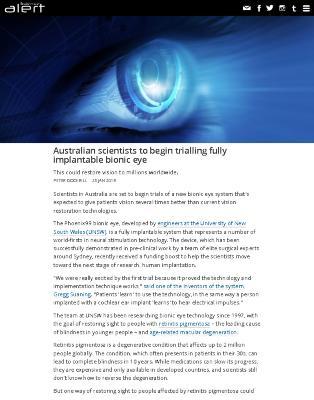 Australian Scientists to Begin Trailing Fully Implantable Bionic Eye
