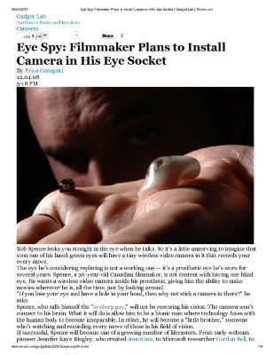 Eye Spy: Filmmaker Plans to Install Camera in His Eye Socket
