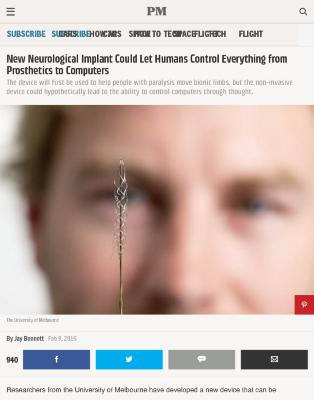 New Neurological Implant Could Let Humans Control Everything from Prosthetics to Computers