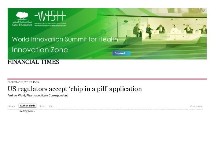 US regulators accept 'chip in a pill' application