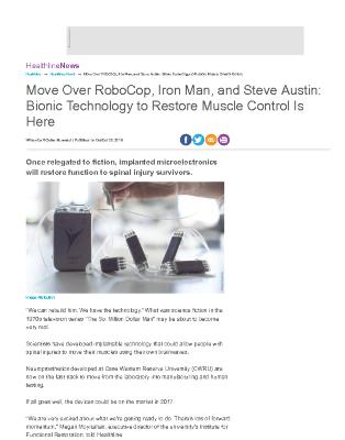 Move Over RoboCop, Iron Man, and Steve Austin: Bionic Technology to Restore Muscle Control Is Here