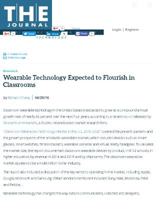 Wearable Technology Expected to Flourish in Classrooms