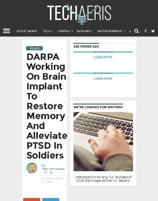 DARPA Working on Brain Implant to Restore Memory and Alleviate PTSD in Soldiers