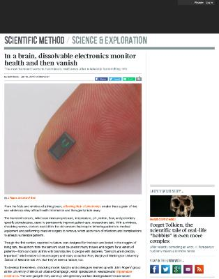 In a brain, dissolvable electronics monitor health and then vanish