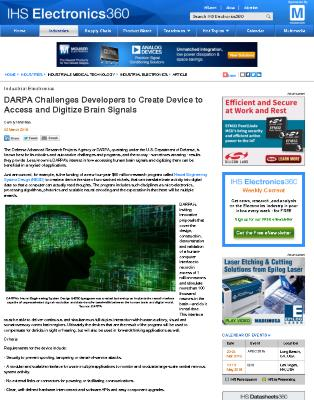 DARPA Challenges Developers to Create Device to Access and Digitize Brain Signals