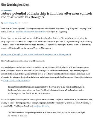 Future potential of brain chip is limitless after man controls robot arm with his thoughts