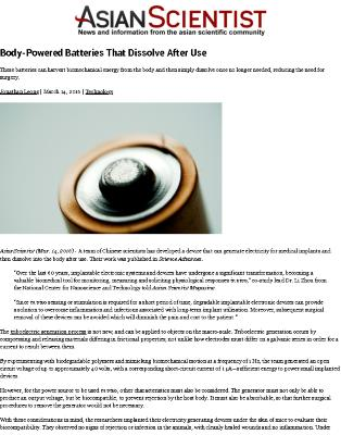 Body-Powered Batteries That Dissolve After Use