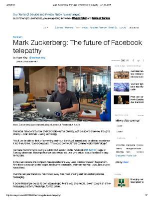Mark Zuckerberg: The future of Facebook is telepathy