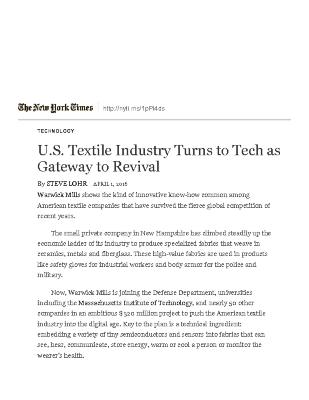 U.S. Textile Industry Turns to Tech as Gateway to Revival