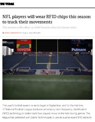 NFL players will wear RFID chips this season to track their movements