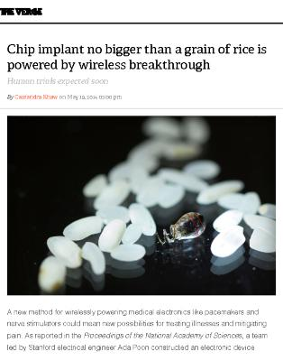 Chip implant no bigger than a grain of rice is powered by wireless breakthrough