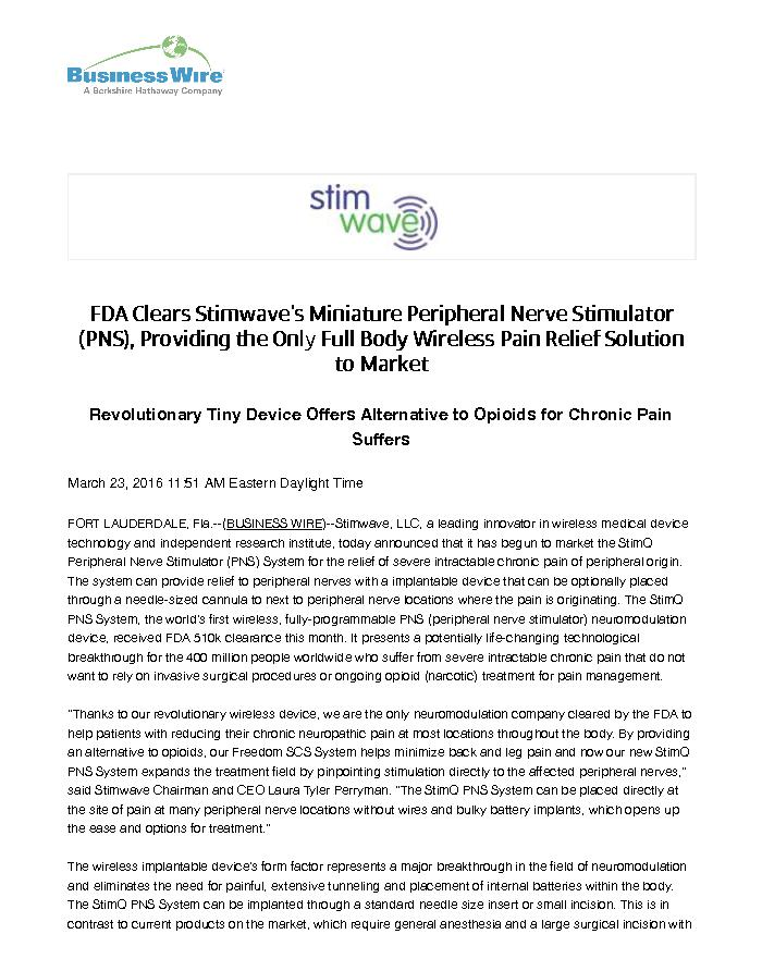 FDA Clears Stimwave's Miniature Peripheral Nerve Stimulator (PNS), Providing the Only Full Body Wireless Pain Relief Solution to Market