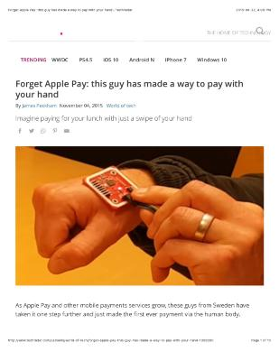 Forget Apple Pay: this guy has made a way to pay with your hand