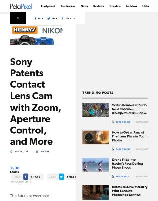 Sony Patents Contact Lens Cam with Zoom, Aperture Control, and More