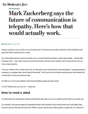 Mark Zuckerberg Says the Future of Communication is Telepathy: Here's How That Would Actually Work