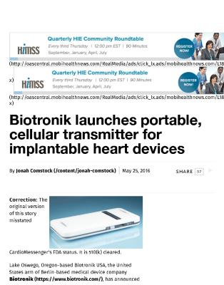 Biotronik launches portable, cellular transmitter for implantable heart devices