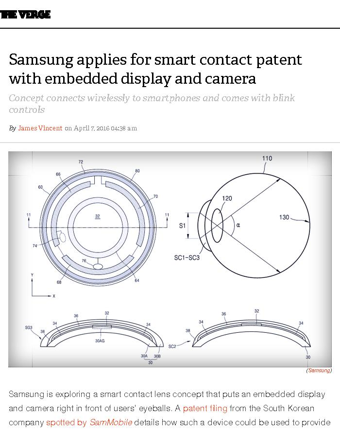 Samsung applies for smart contact patent with embedded display and camera