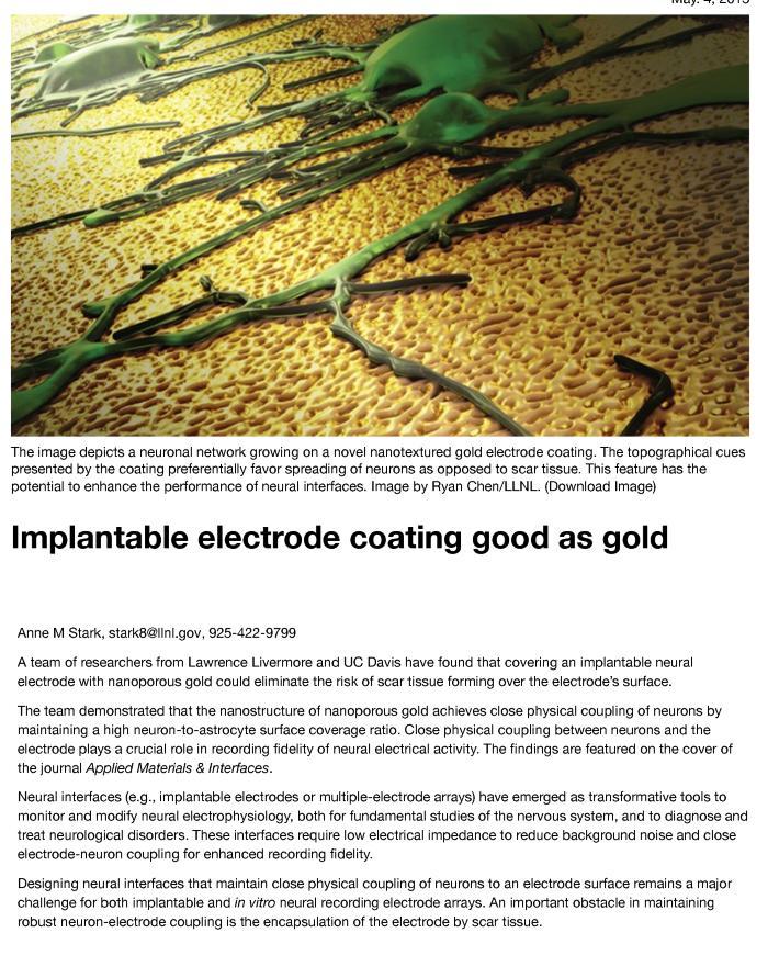 Implantable electrode coating good as gold