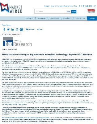 Miniaturization Leading to Big Advances in Implant Technology, Reports BCC Research