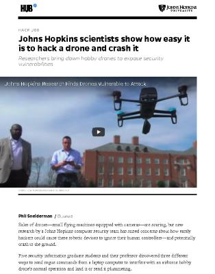 Johns Hopkins scientists show how easy it is to hack a drone and crash it
