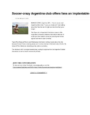 Soccer-crazy Argentina club offers fans an implantable chip