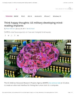 Think happy thoughts: US military developing mind reading implants