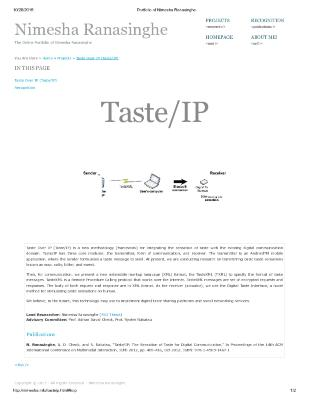 Taste Over IP - Portfolio of Nimesha Ranasinghe