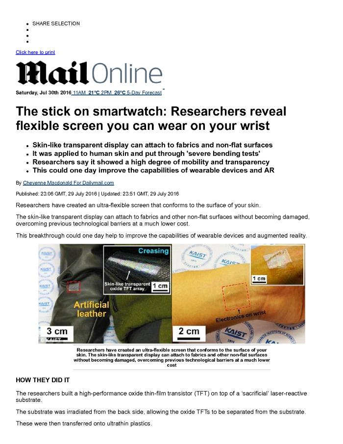 The stick on smartwatch: Researchers reveal flexible screen you can wear on your wrist