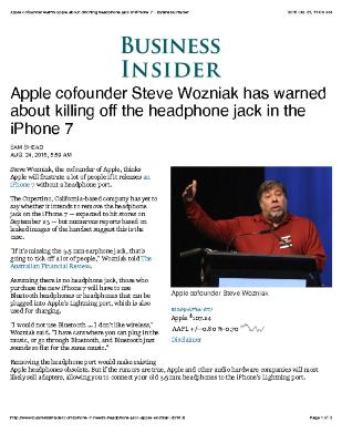 Apple cofounder Steve Wozniak has warned about killing off the headphone jack in the iPhone 7