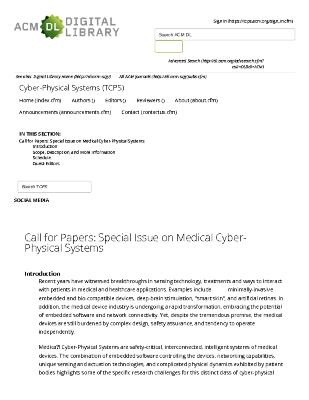 Call for Papers: Special Issue on Medical Cyber-Physical Systems
