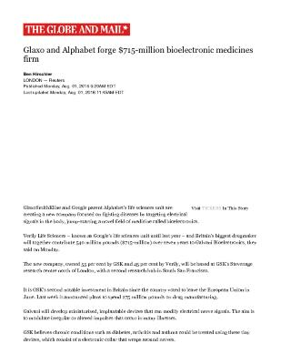 Glaxo and Alphabet forge $715-million bioelectronic medicines firm