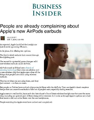 People are Already Complaining about Apple's new AirPod Earbuds