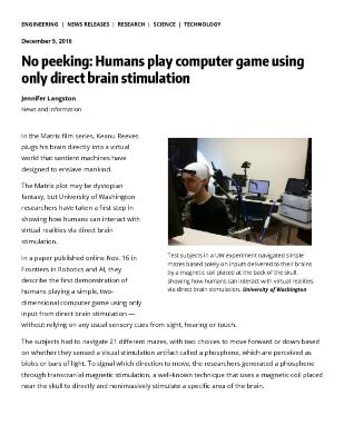 No peeking: Humans play computer game using only direct brain stimulation