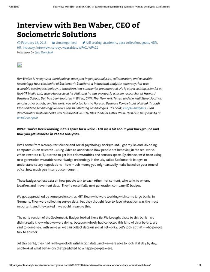 Interview with Ben Waber, CEO of Sociometric Solutions
