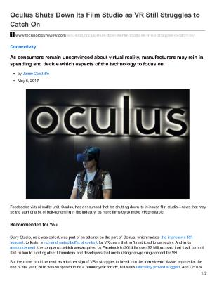 Oculus Shuts Down Its Film Studio as Virtual Reality (VR) Still Struggles to Catch On