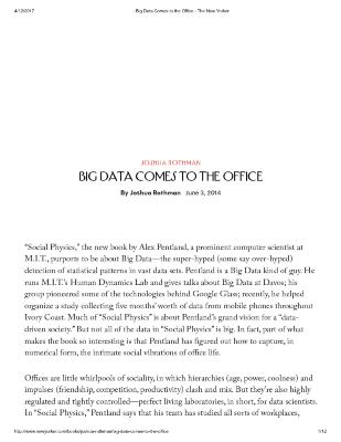 BIG DATA COMES TO THE OFFICE