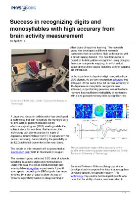 Success in recognizing digits and monosyllables with high accurary from brain activity measurement