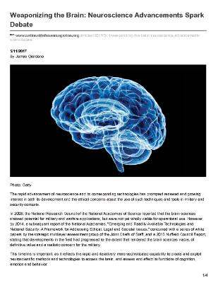 Weaponizing the Brain: Neuroscience Advancements Spark Debate