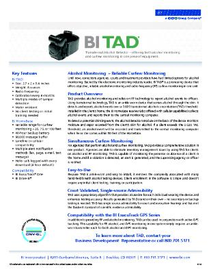 BI TAD - The Transdermal Alcohol Monitor