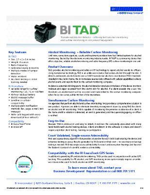 BI TAD - The Transdermal Alcohol Monitor