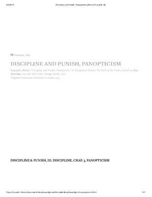 DISCIPLINE AND PUNISH, PANOPTICISM