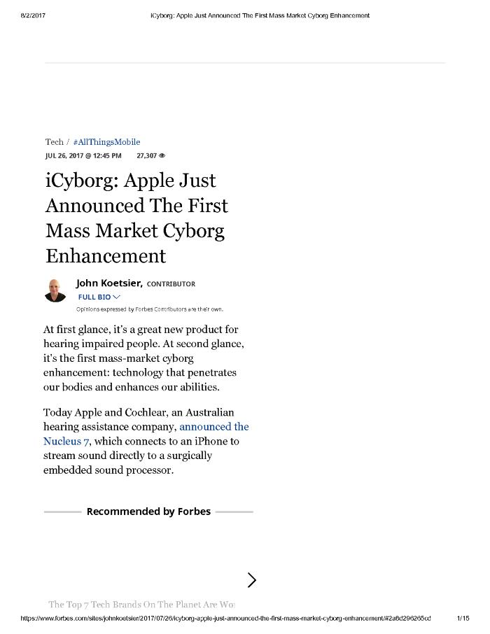 iCyborg: Apple Just Announced The First Mass Market Cyborg Enhancement Page 1