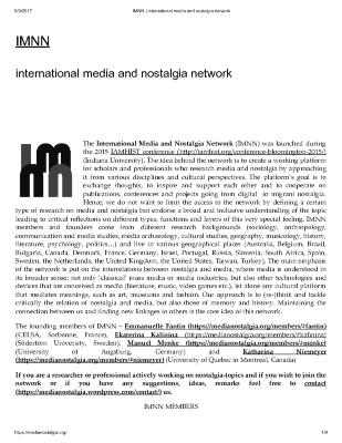 International Media and Nostalgia Network (IMNN)