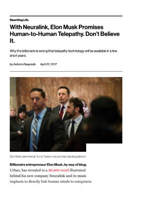 With Neuralink, Elon Musk Promises Human-to-Human Telepathy. Don't Believe It.