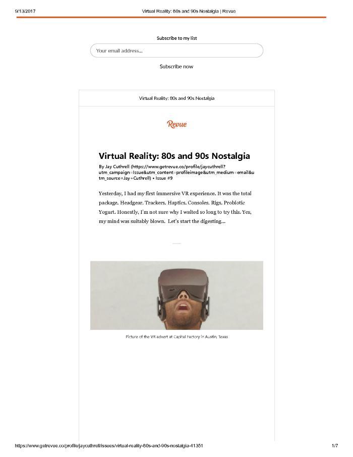 Virtual Reality: 80s and 90s Nostalgia